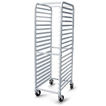 Aluminum bakery rack on wheels. Holds up to 20 full size sheet pans (not included).