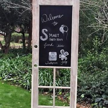 Freestanding Chalkboard / Cork vintage door. Perfect for seating chart or menus!