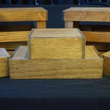 "Wood Risers for decor use. Available in the following sizes: 6""x6""x3"" 9""x9""x3"" 9""x15""x3"" 9""x12""x10"" - Crates Only"
