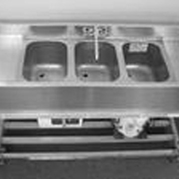Stainless steel, portable sink on wheels. Provides both hot and cold water. Call for pricing.