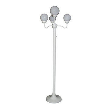 4 - Globe freestanding Bourbon Style Light pole Height: 76 inches Width: 21 inches On/off switch Uses 60 watts bulbs (included)