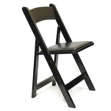 Folding Chair, Black Wood