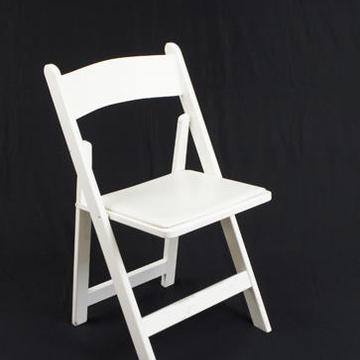 Folding Chair, White Wood