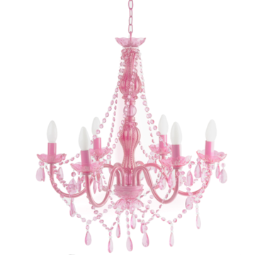 """Pink Chandelier with 6 arms. Weight: 8 lbs Height: 26"""" Width: 22"""""""