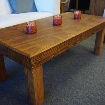 "Individually handcrafted in an early american oak stain. Available in the following sizes: 2'x4'x18"" (shown) 2'x4'x29"" (dining height) 2'x4'x42"" (bar height)"